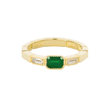 Load image into Gallery viewer, The Eternity Ring-Emerald+Diamonds | Hortense Jewelry - handmade gold wedding rings, handcrafted mens wedding bands, handmade gold wedding rings, designer gold wedding bands