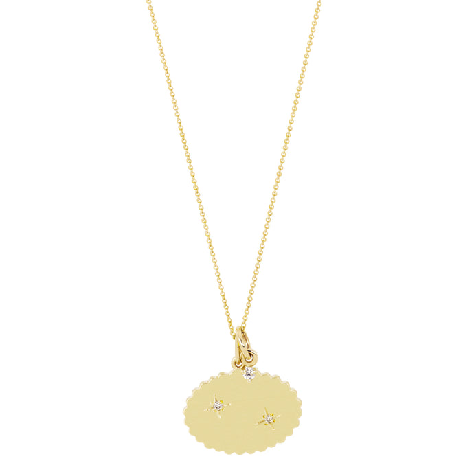 The Bubble Signet Necklace-2 Diamonds+1 Dangling Diamond OR/AND 1 Dangling Pearl