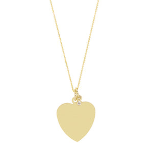 The Big Heart necklace-Customizable-with or without diamond | Hortense Jewelry - handmade designer necklaces, designer gold necklaces, designer bridal necklaces, delicate gold necklaces