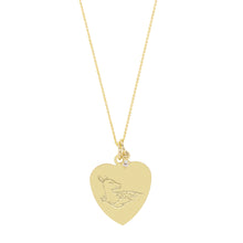 Load image into Gallery viewer, The Big Heart Deer Necklace with or without diamond | Hortense Jewelry - 14k yellow gold diamond pendant necklace, diamond heart pendant 14k yellow gold, diamond heart necklace rose gold, white gold teardrop necklace