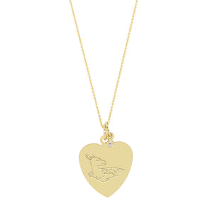 The Big Heart Deer Necklace with or without diamond | Hortense Jewelry - 14k yellow gold diamond pendant necklace, diamond heart pendant 14k yellow gold, diamond heart necklace rose gold, white gold teardrop necklace