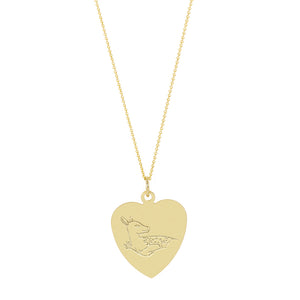 The Big Heart Deer Necklace with or without diamond | Hortense Jewelry - affordable designer necklaces, handcrafted ethical necklaces, exquisite gold necklace
