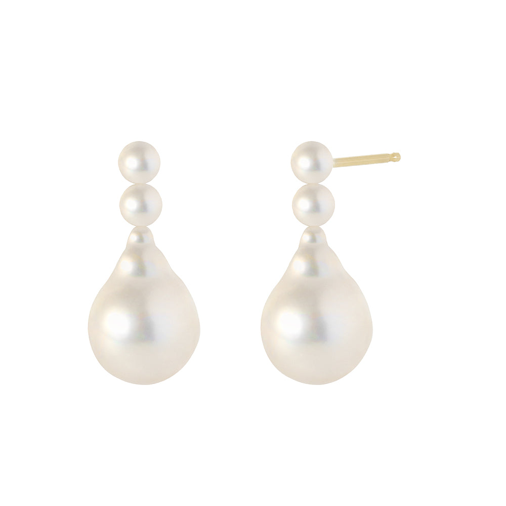 The Bianca earrings-Baroque Pearls | Hortense Jewelry - 14k yellow gold diamond earrings, round diamond earrings white gold, pure gold designer earrings