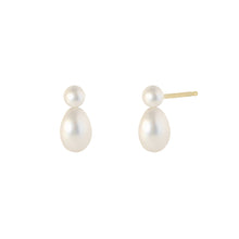 Load image into Gallery viewer, The Duo- Cultured Pearls-Earrings | Hortense Jewelry - 14k yellow gold diamond earrings, round diamond earrings white gold, pure gold designer earrings