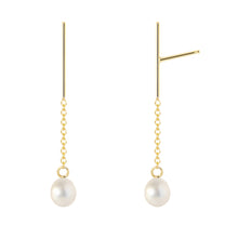 Load image into Gallery viewer, The Little Dancers-Earrings/Classic white cultures pearls | Hortense Jewelry - yellow gold bridal earrings, designer bridal earrings, ethical gold earrings
