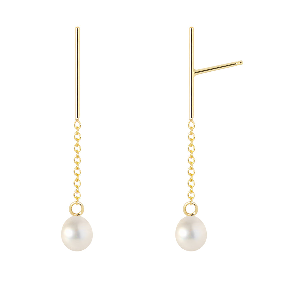 The Little Dancers-Earrings/Classic white cultures pearls | Hortense Jewelry - 14k yellow gold diamond earrings, round diamond earrings white gold, pure gold designer earrings