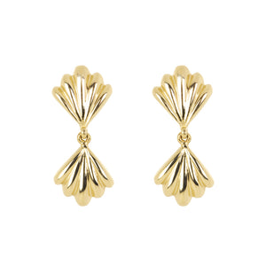 The Duo Shell-Earrings | Hortense Jewelry - 14k yellow gold diamond earrings, round diamond earrings white gold, pure gold designer earrings