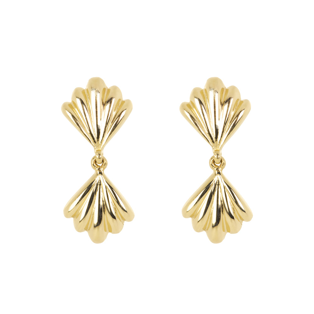 The Duo Shell-Earrings | Hortense Jewelry - yellow gold bridal earrings, designer bridal earrings, ethical gold earrings