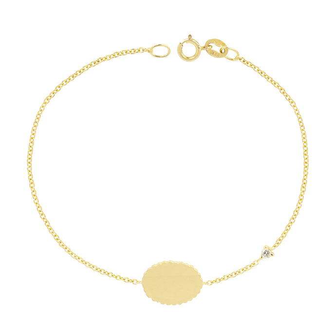 The Customizable Bubble Signet Bracelet with diamond