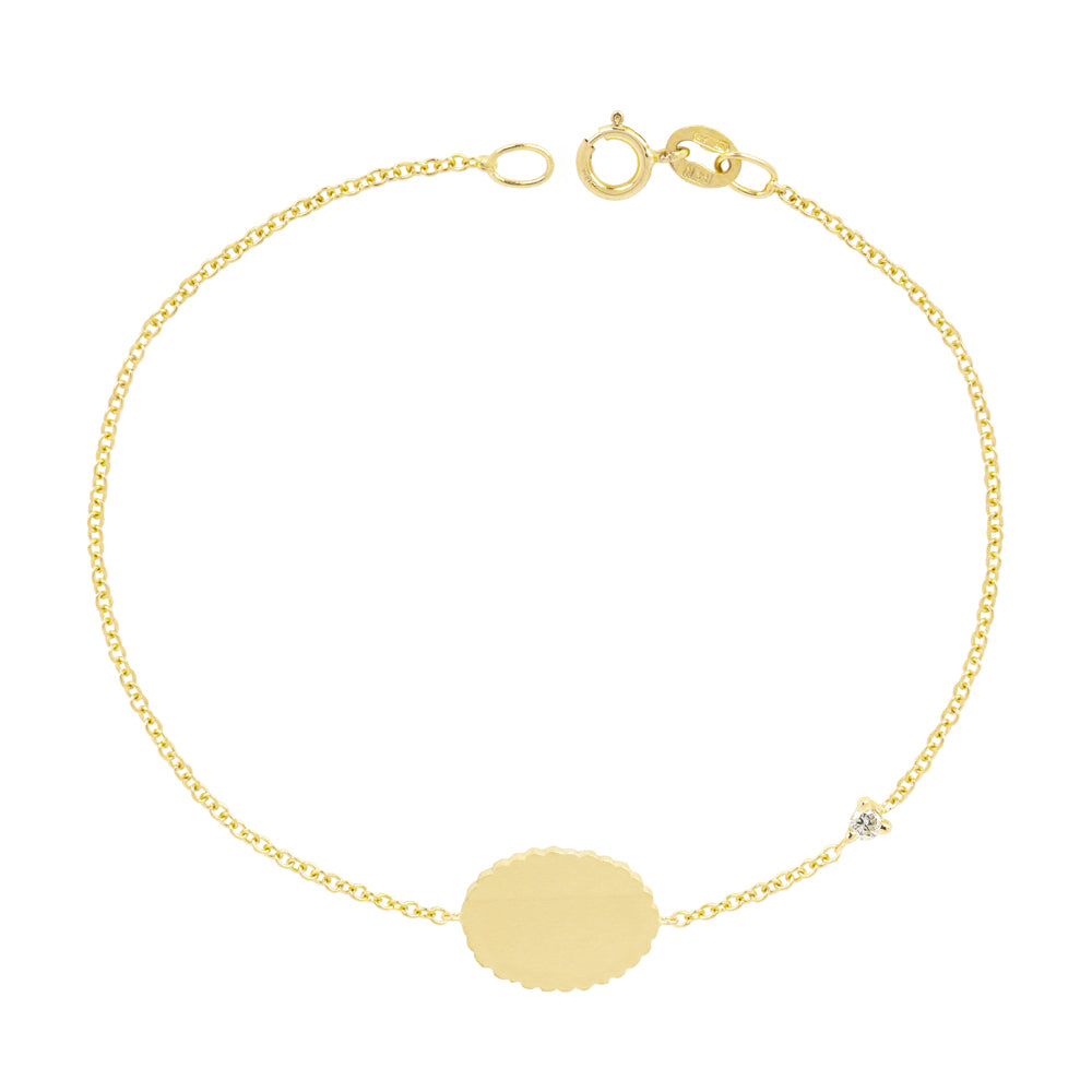 The Customizable Bubble Signet Bracelet with diamond | Hortense Jewelry - handcrafted beaded bracelets, handcrafted gold bracelets, handmade pearl bracelets, delicate handmade bracelets