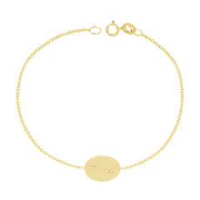 Load image into Gallery viewer, The Bubble Signet Bracelet with 2 diamonds | Hortense Jewelry - custom handmade bracelet, 14k gold designer bracelets, handcrafted ethical bracelets