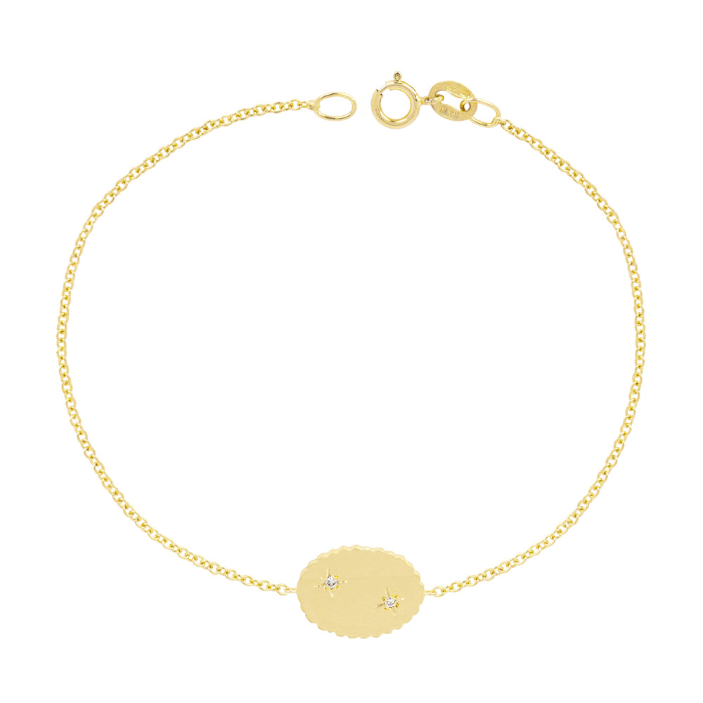 The Bubble Signet Bracelet with 2 diamonds | Hortense Jewelry - handcrafted beaded bracelets, handcrafted gold bracelets, handmade pearl bracelets, delicate handmade bracelets