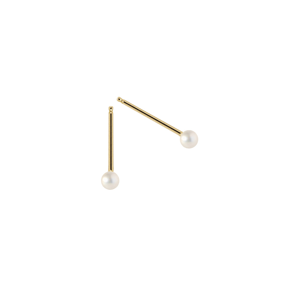 The Mini-Mini Me Pearl-Earrings 14K Yellow Gold pair | Hortense Jewelry - yellow gold bridal earrings, designer bridal earrings, ethical gold earrings