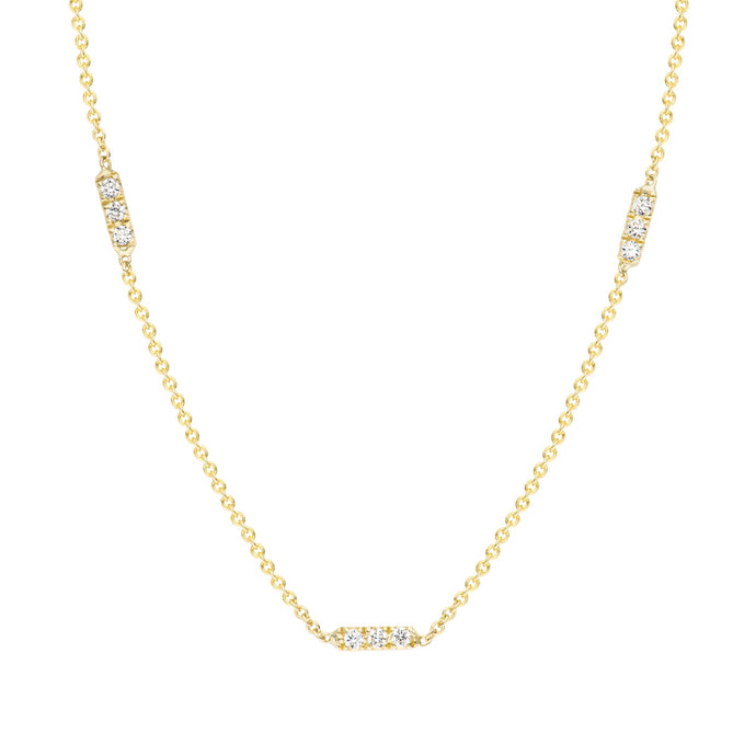 Tic Tac TRIO Necklace set with white or black diamonds