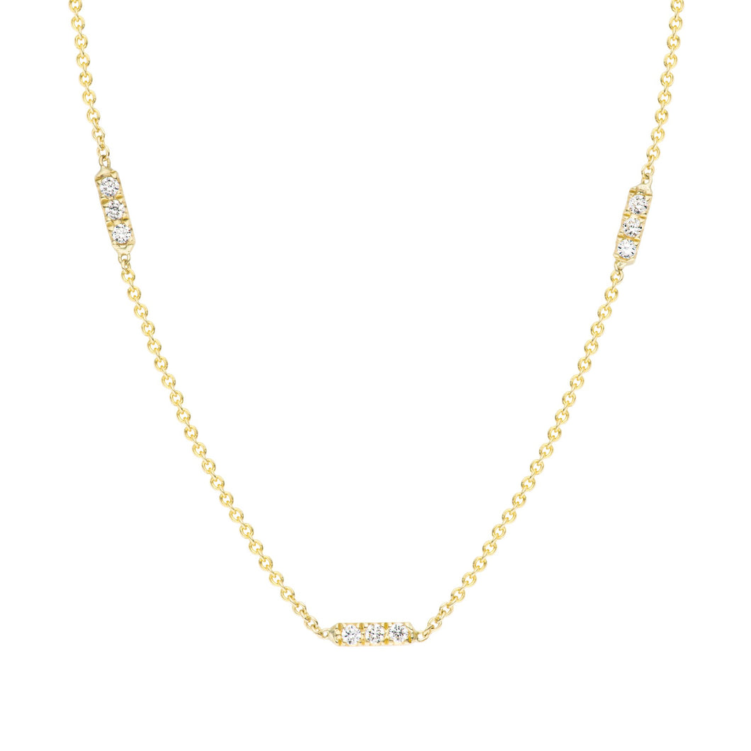 Tic Tac TRIO Necklace set with white or black diamonds 14K YG BLACK DIAMONDS 16