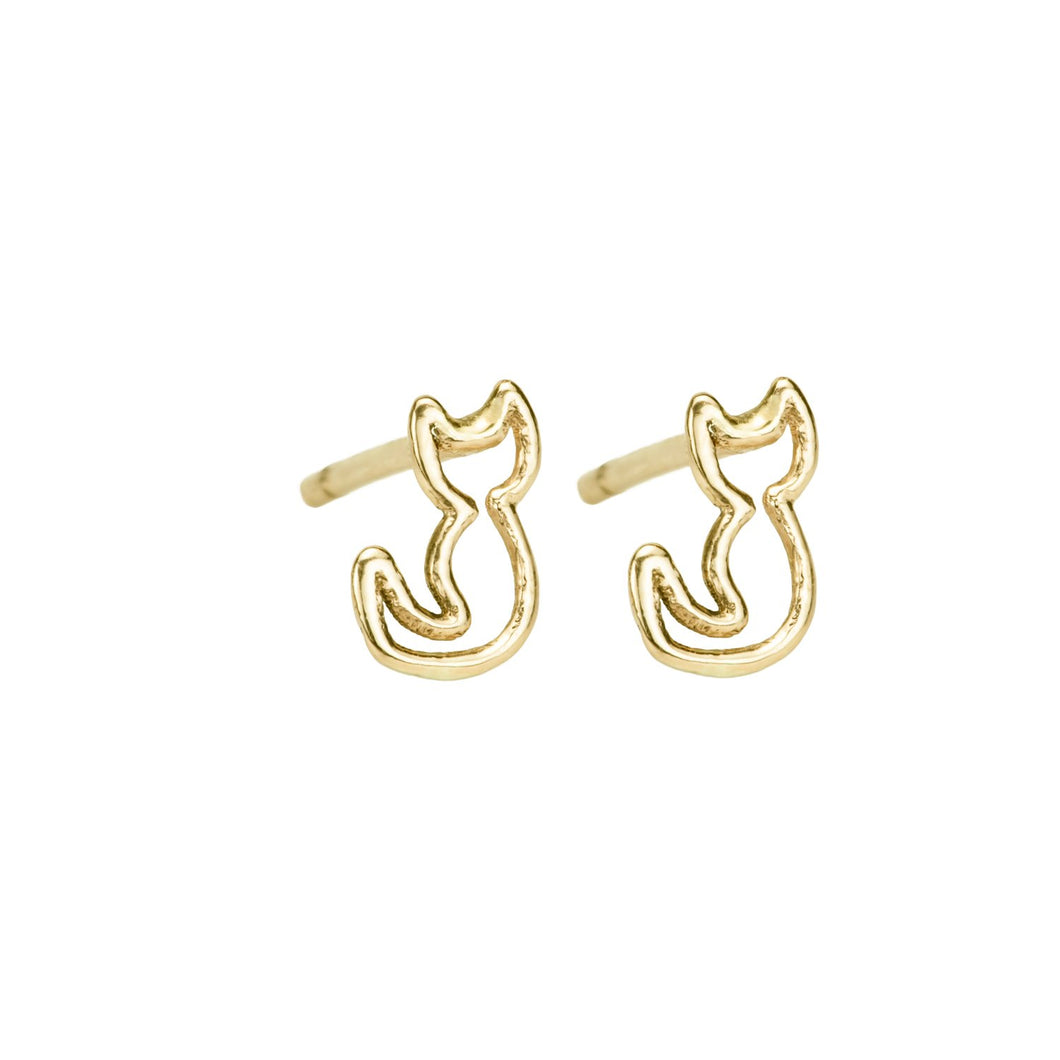 Sweet Purrrr SINGLE STUD 14K yellow gold | Hortense Jewelry - yellow gold bridal earrings, designer bridal earrings, ethical gold earrings