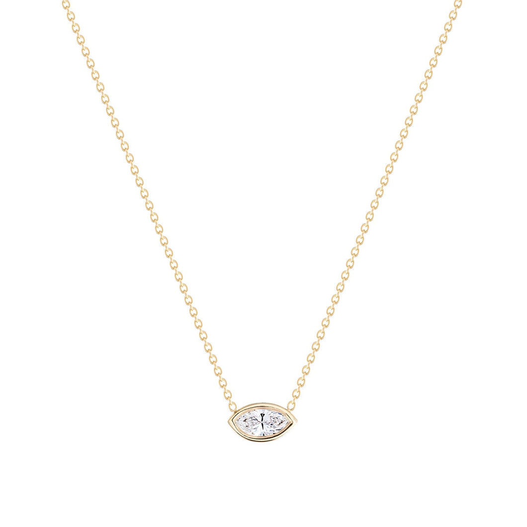 Marquise-necklace Set with marquise white sapphire14KYG 16