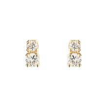 Load image into Gallery viewer, Double D all White | Hortense Jewelry - 14k yellow gold diamond earrings, round diamond earrings white gold, pure gold designer earrings