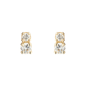 Double D all White | Hortense Jewelry - 14k yellow gold diamond earrings, round diamond earrings white gold, pure gold designer earrings