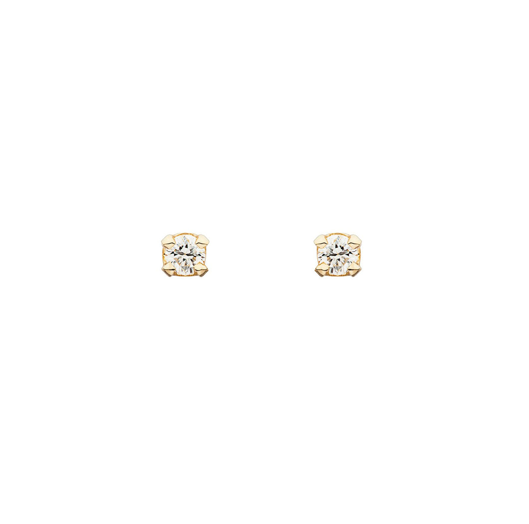 The D-Earring 14K yellow gold | Hortense Jewelry - 14k yellow gold diamond earrings, round diamond earrings white gold, pure gold designer earrings