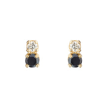 Load image into Gallery viewer, Double D Black and White Diamond Errings | Hortense Jewelry - yellow gold bridal earrings, designer bridal earrings, ethical gold earrings