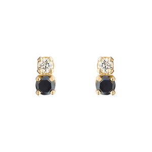Double D Black and White Diamond Errings | Hortense Jewelry - yellow gold bridal earrings, designer bridal earrings, ethical gold earrings