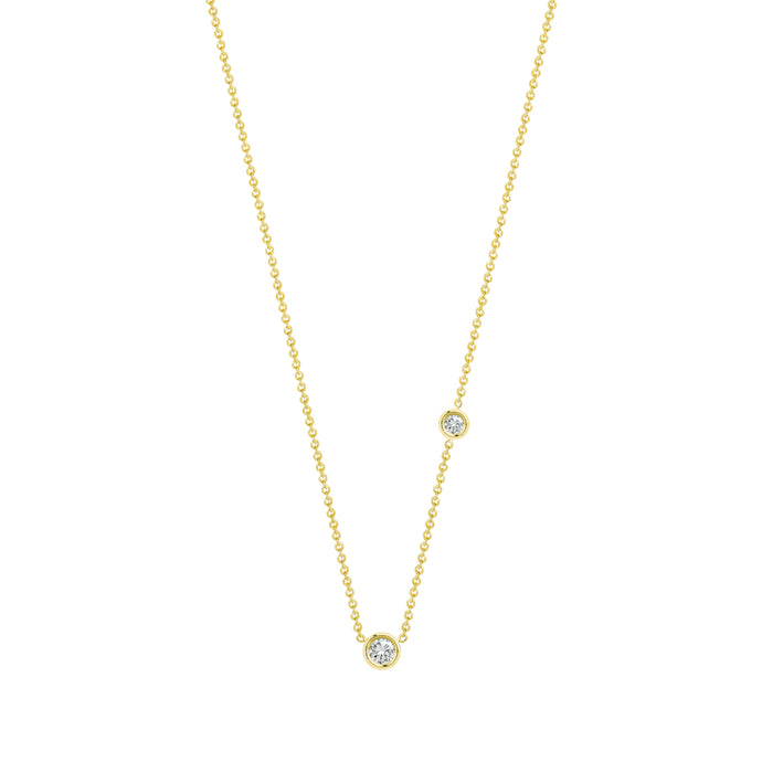Double Flirty-white diamonds | Hortense Jewelry - handmade designer necklaces, designer gold necklaces, designer bridal necklaces, delicate gold necklaces