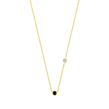 Load image into Gallery viewer, Double Flirty-black and white diamond | Hortense Jewelry - 14k yellow gold diamond pendant necklace, diamond heart pendant 14k yellow gold, diamond heart necklace rose gold, white gold teardrop necklace