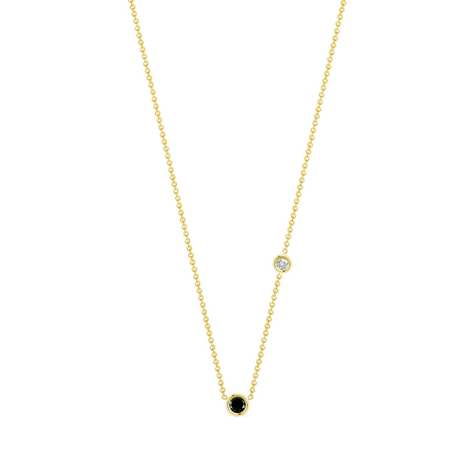 Double Flirty-black and white diamond | Hortense Jewelry - handmade designer necklaces, designer gold necklaces, designer bridal necklaces, delicate gold necklaces