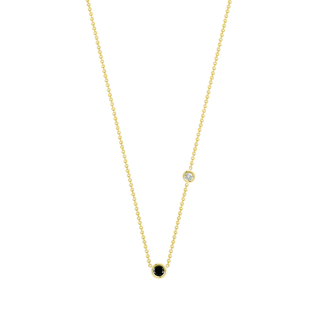 Double Flirty-black and white diamond | Hortense Jewelry - 14k yellow gold diamond pendant necklace, diamond heart pendant 14k yellow gold, diamond heart necklace rose gold, white gold teardrop necklace