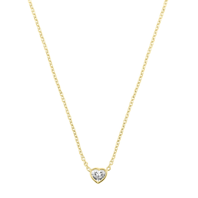 Je t'aime necklace-heart shape diamond | Hortense Jewelry - handmade designer necklaces, designer gold necklaces, designer bridal necklaces, delicate gold necklaces