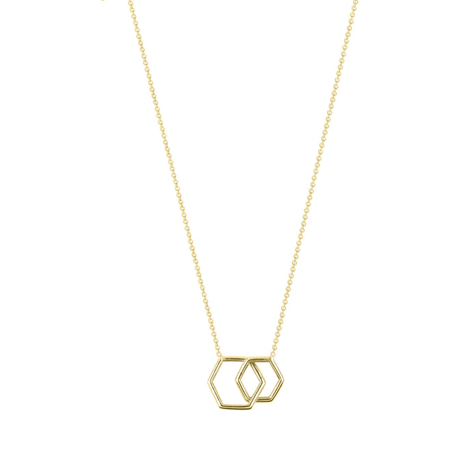 Together-Hexagon | Hortense Jewelry - 14k yellow gold diamond pendant necklace, diamond heart pendant 14k yellow gold, diamond heart necklace rose gold, white gold teardrop necklace