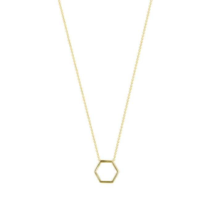 By Myself-Hexagon | Hortense Jewelry - handmade designer necklaces, designer gold necklaces, designer bridal necklaces, delicate gold necklaces