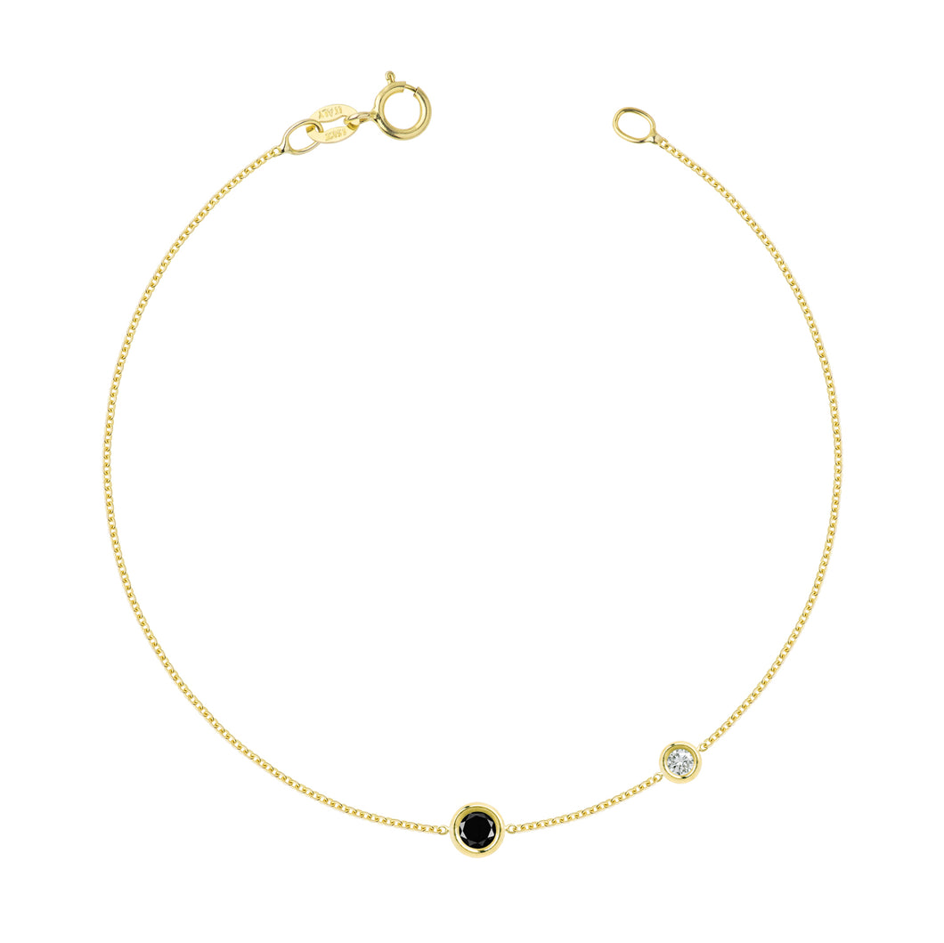 Bracelet Double Flirty Black and White diamond | Hortense Jewelry - custom handmade bracelet, 14k gold designer bracelets, handcrafted ethical bracelets