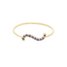 "Load image into Gallery viewer, ""Wave"" Deep blue cut Diamond Sapphire ring 