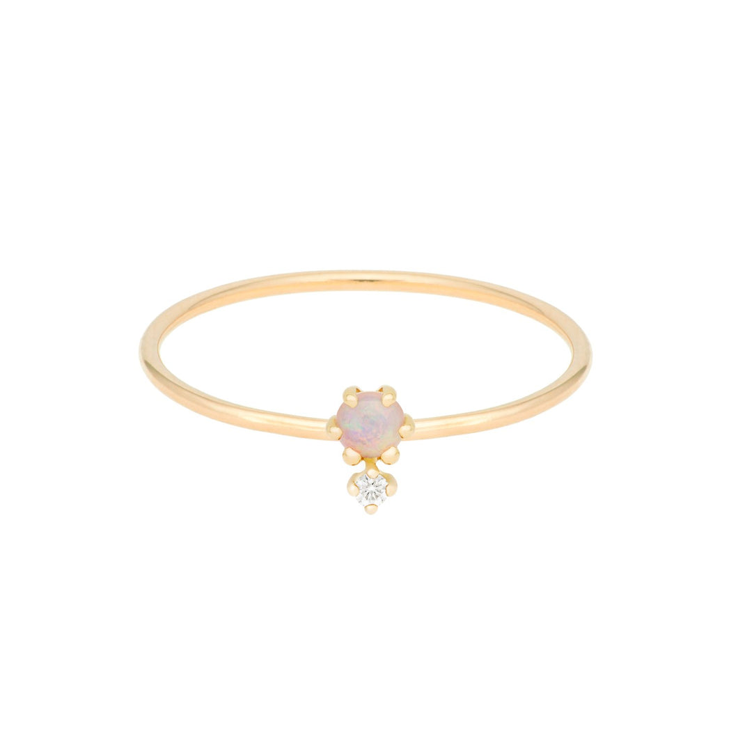 "Selected for Valentine's Day 2019/""Petite Cherie DUO"" Opal-White Diamond ring"