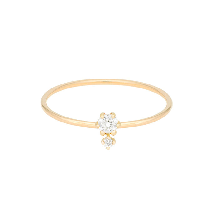 """Petite Cherie DUO"" white diamond ring 14KYG SIZE 4.5 