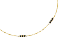 Load image into Gallery viewer, Tic Tac TRIO Necklace set with white or black diamonds | Hortense Jewelry - affordable designer necklaces, handcrafted ethical necklaces, exquisite gold necklace