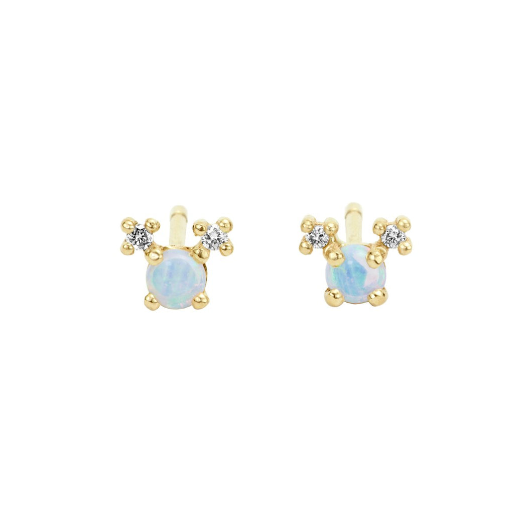 NEW Pom Pom Girls-Opal and Diamonds Yellow Gold 14K-Pair | Hortense Jewelry - yellow gold bridal earrings, designer bridal earrings, ethical gold earrings