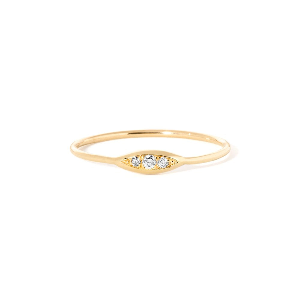 Rise and Shine-Diamond ring YG size 4 | Hortense Jewelry - handcrafted 14k gold ring, exquisite 14k gold ring, minimalist 14k gold ring