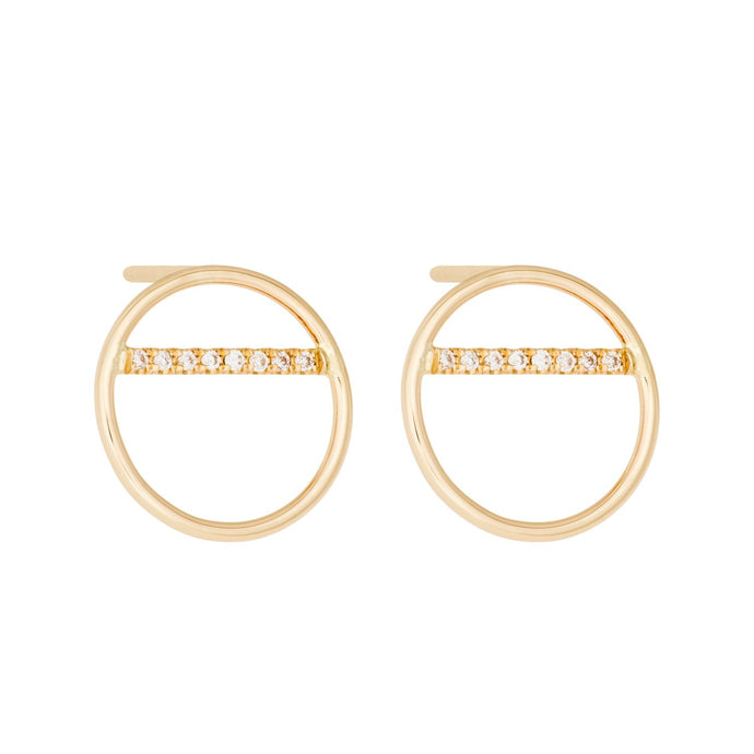 "Small ""O-Balance""-Diamonds-Earring 14KYG SINGLE 