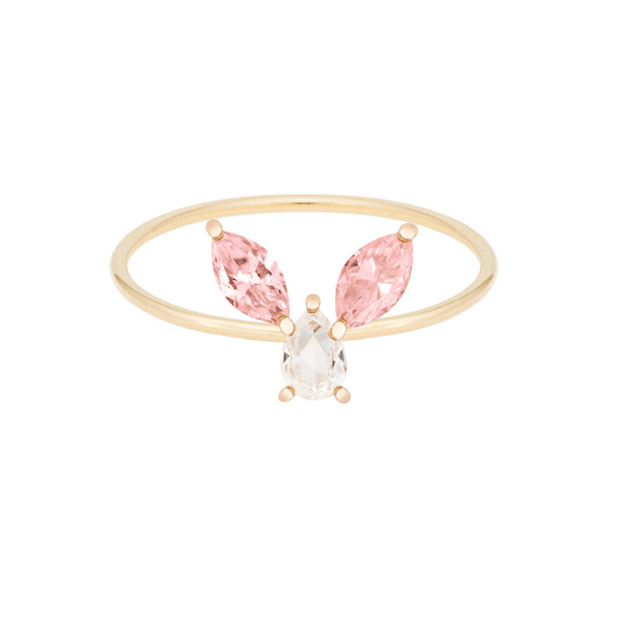 "The ""Bunny"" ring 14KYG SIZE 4.5 