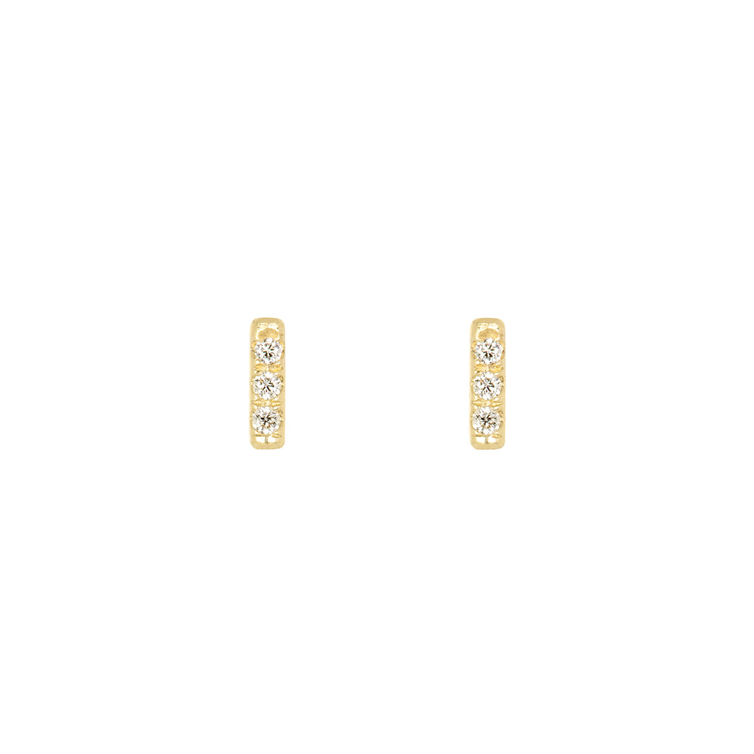 Tic Tac earrings with diamonds | Hortense Jewelry - yellow gold bridal earrings, designer bridal earrings, ethical gold earrings
