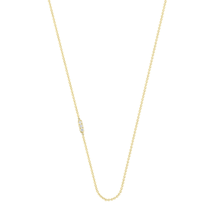 Tic Tac necklace with diamond | Hortense Jewelry - handmade designer necklaces, designer gold necklaces, designer bridal necklaces, delicate gold necklaces