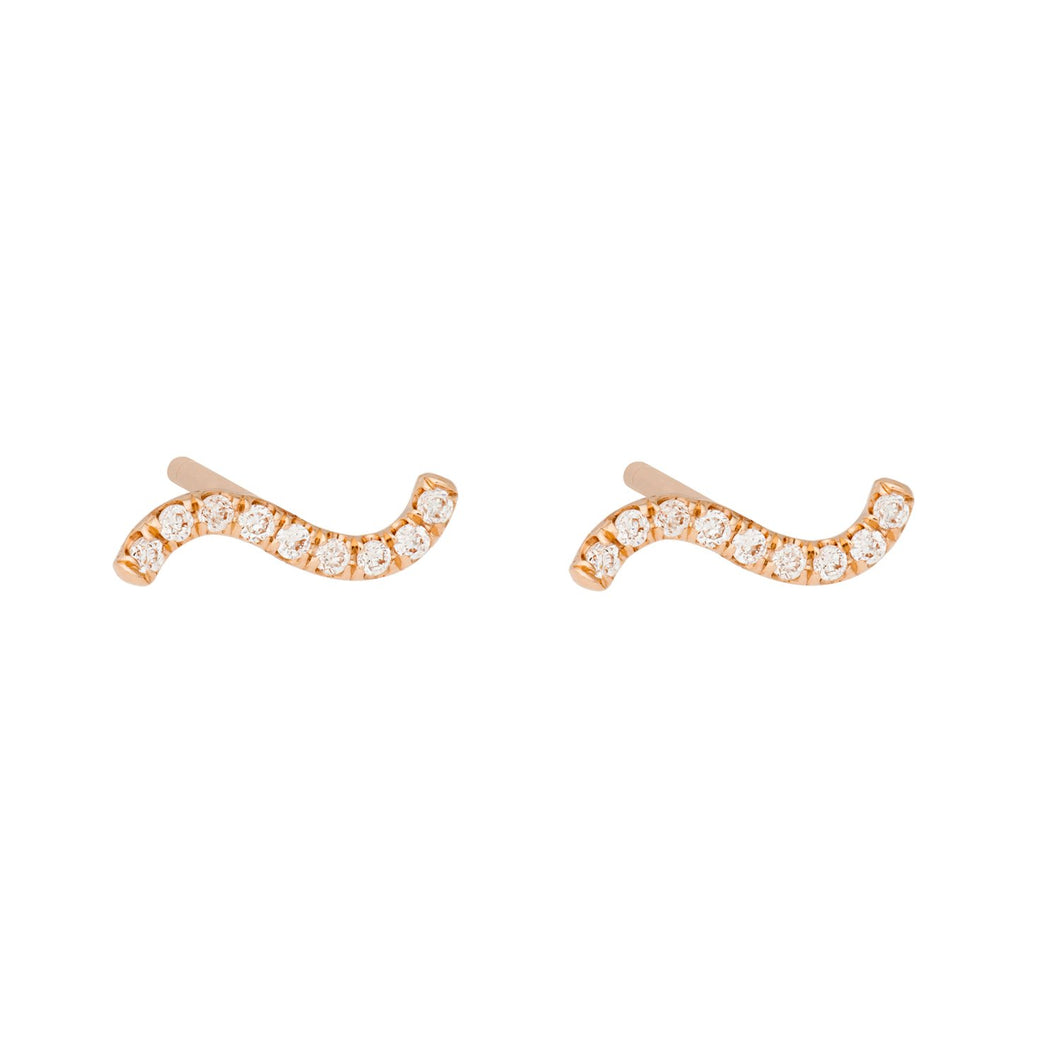 """Wave"" All white diamonds-Earring SINGLE 14KYG 