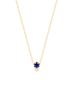 """Petite Cherie""-Deep blue diamond cut sapphire+white diamond-Necklace 14KYG 16"" 