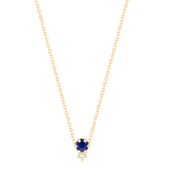 """Petite Cherie""-Deep blue diamond cut sapphire+white diamond-Necklace 14KYG 16"