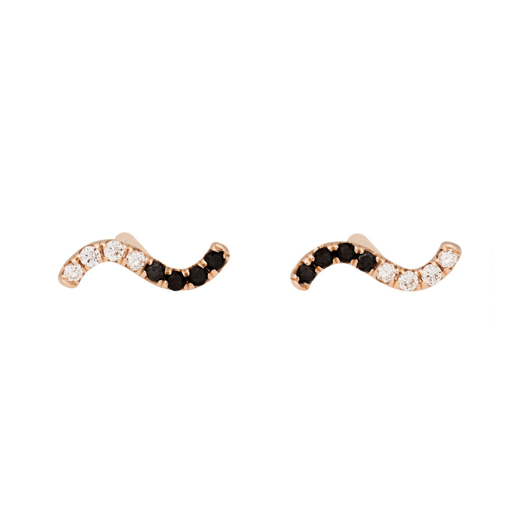 Wave earrings-Black and White Diamonds