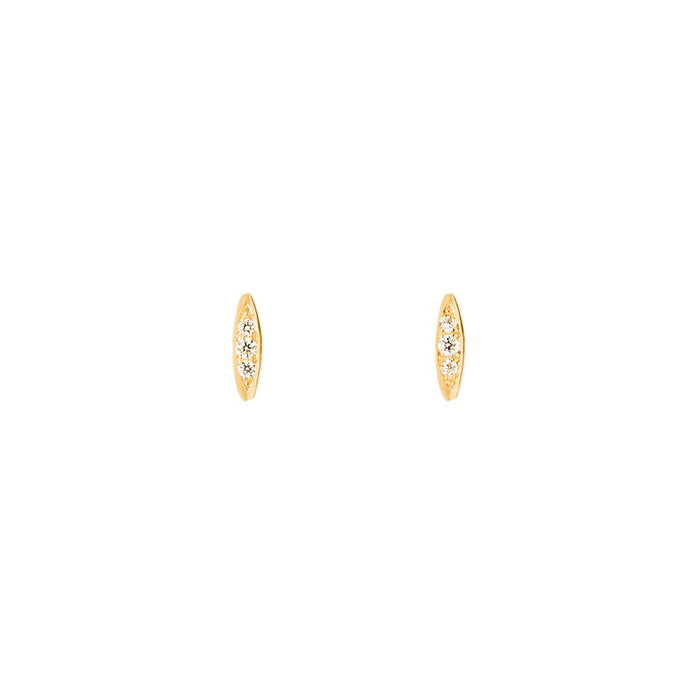 Rise and Shine-Earring with diamond 14KYG SINGLE | Hortense Jewelry - yellow gold bridal earrings, designer bridal earrings, ethical gold earrings