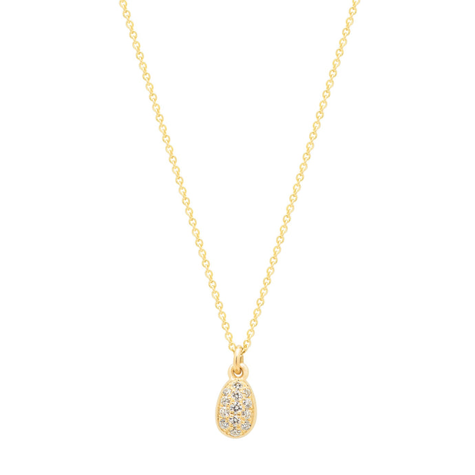 Sweet Egg Necklace with white diamonds 14K YG 16